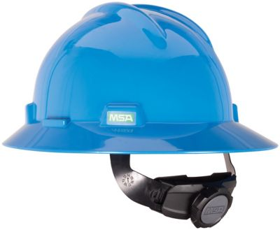 MSA V-Gard Hard Hat with full brim in blue